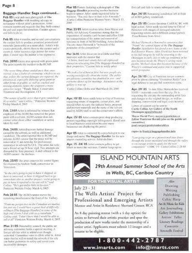 CARFAC newsletter about the history of Frank The Baggage Handler and the court case with the City of Penticton