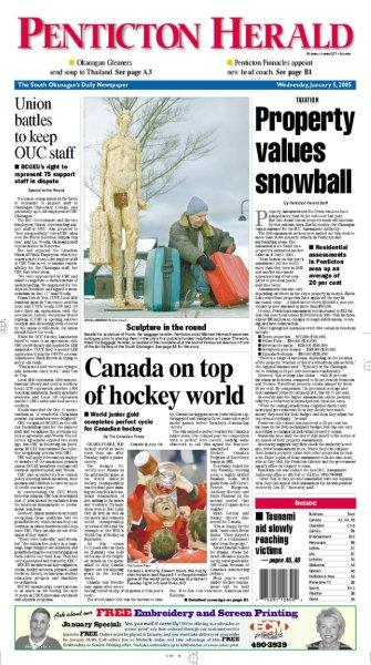 Front page of the Penticton Herald on January 5th 2005