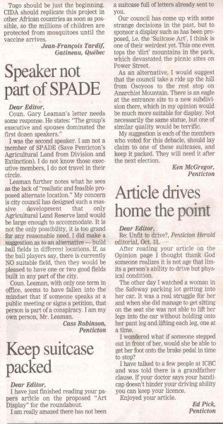 Letter to the editor in regards to the choice of art work in the roundabout.